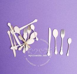 wycinanka sztucce male エンベリッシュメント 小さなプレーンスプーン、フォーク&ナイフのセット ウィチナンカ