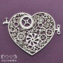 wycinanka AROUND THE STEAMPUNK - heart, pattern 2 ハートの歯車 ネジ巻と蛇口 エンベリッシュメント ウィチナンカ