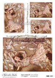 【当店専売商品】二次販売可能 不思議の国のアリス トランプ Alice in Wonderland デコパージュシート 1枚 和紙 ライスペーパー Aphrodite Studio
