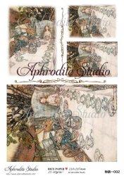 【当店専売商品】商用販売可能 不思議の国のアリス ティーパーティー Alice in Wonderland デコパージュシート 1枚 和紙 ライスペーパー Aphrodite Studio