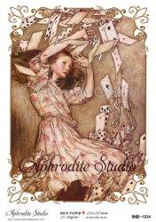 【当店専売商品】商用販売可能 不思議の国のアリス トランプ 大サイズ Alice in Wonderland デコパージュシート 1枚 和紙 ライスペーパー Aphrodite Studio