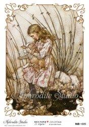 【当店専売商品】二次商用販売可能 不思議の国のアリス 子豚を抱きかかえるアリス Alice in Wonderland デコパージュシート 1枚 和紙 ライスペーパー Aphrodite Studio