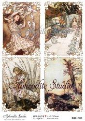 【当店専売商品】商用販売可能 不思議の国のアリス 4パターン Alice in Wonderland デコパージュシート 1枚 和紙 ライスペーパー Aphrodite Studio