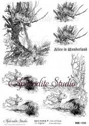 【当店専売商品】商用販売可能 不思議の国のアリス チェシャ猫とうさぎ Alice in Wonderland デコパージュシート 1枚 和紙 ライスペーパー Aphrodite Studio