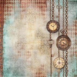 商用販売可能 スタンペリア 極薄紙 【Clockwise chains with clocks and keys】時計 ライスペーパーナプキン Stamperia