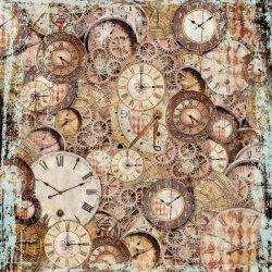 商用販売可能 スタンペリア 極薄紙 【Clockwise clocks and mechanism】時計と歯車 ライスペーパーナプキン Stamperia