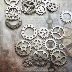 【10個セット】歯車 シルバー エンベリッシュメント アクセサリー 素材 パーツ チャーム
