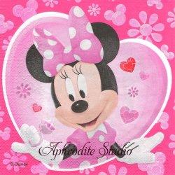 ディズニー ハートの中のミニーちゃん キャラクター 1枚 バラ売り 33cm ペーパーナプキン Disney