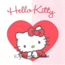 ハロー!キティ SWEET HEART ハート半分こ 1枚 バラ売り 33cm ペーパーナプキン Hello! Kitty サンリオ