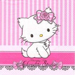 ハロー!キティ Charmy Kitty ピンク ストライプ 1枚 バラ売り 33cm ペーパーナプキン Hello! Kitty サンリオ