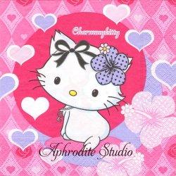 ハロー!キティ Charmy Kitty ピンク ハイビスカス 1枚 バラ売り 33cm ペーパーナプキン Hello! Kitty サンリオ