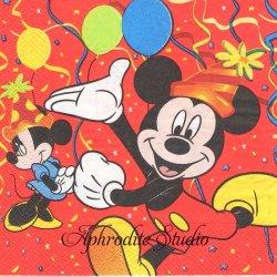 ディズニー ミッキーとミニーのバースデー キャラクター 1枚 バラ売り 33cm ペーパーナプキン Disney