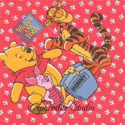 ディズニー くまのプーさんとティガー、ピグレット レッド ハチ模様 キャラクター 1枚 バラ売り 33cm ペーパーナプキン Disney