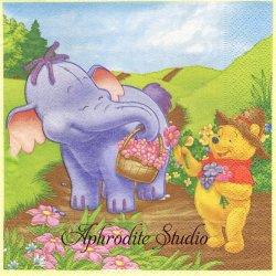 ディズニー くまのプーさん 象さん親子とお花摘みに山へ キャラクター 1枚 バラ売り 33cm ペーパーナプキン Disney