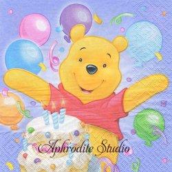 ディズニー くまのプーさん 誕生日ケーキ ライラック キャラクター 1枚 バラ売り 33cm ペーパーナプキン Disney