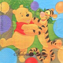 ディズニー くまのプーさん 皆でダンス! 風船 キャラクター 1枚 バラ売り 33cm ペーパーナプキン Disney