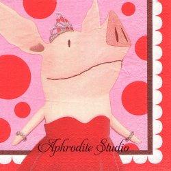 24.8cm 豚のオリビア ピンク キャラクター 1枚 バラ売り ペーパーナプキン