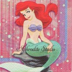 25cm ディズニー THE LITTLE MARMAID 人魚姫 アリエル キャラクター 1枚 バラ売り ペーパーナプキン Disney