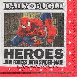25cm スパイダーマン DAILY BUGLE キャラクター 1枚 バラ売り ペーパーナプキン MARVEL