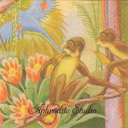 北欧 フィンレイソン PAPUKAIJA ジャングル 南国トロピカル 小猿と鳥 1枚 バラ売り 33cm ペーパーナプキン Finlayson Suomen Kerta
