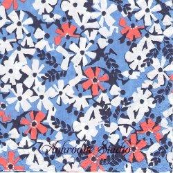 24cm【新柄入荷】北欧 フィンレイソン AINIKKI ブルー お花 1枚 バラ売り ペーパーナプキン Finlayson Suomen Kerta