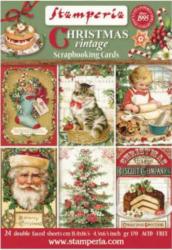 【24枚1組】スタンペリア スクラップブッキングカードブロック ペーパー Christmas Vintage 11,4x16,5cm SBBPC07 CARDS Stamperia