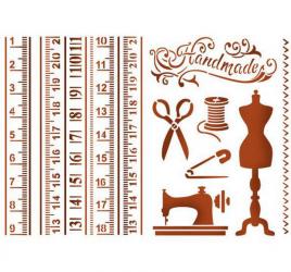 スタンペリア【Atelier】ソーイングアトリエ ステンシルシート♪ 21x29.7cm KSG401 テンプレート エンボス Stamperia