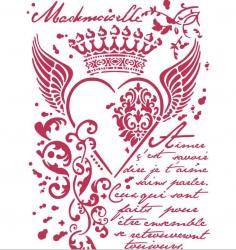 スタンペリア【Royal heart】クラウンとハート ステンシルシート♪ 21x29.7cm KSG428 テンプレート エンボス Stamperia