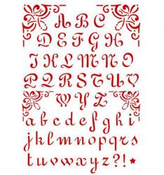 スタンペリア【Alphabet 2】アルファベット ステンシルシート♪ 21x29.7cm KSG26 テンプレート エンボス Stamperia