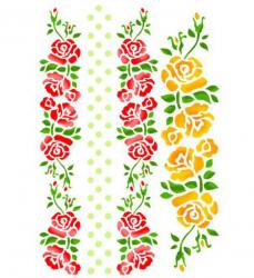 スタンペリア【Rose】ボーダー 薔薇 ローズ ステンシルシート♪ 21x29.7cm KSG231 テンプレート エンボス Stamperia