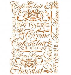 スタンペリア【Patisserie】パティスリー 文字 ステンシルシート♪ 21x29.7cm KSG182 テンプレート エンボス Stamperia