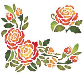 スタンペリア【Roses centre & c】薔薇のコーナー飾り ステンシルシート♪ 15x20cm KSD81 テンプレート エンボス Stamperia