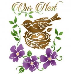 スタンペリア【Bird nest】アルファベット 文字 ステンシルシート♪ 15x20cm KSD299 テンプレート エンボス Stamperia