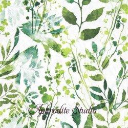 Boho Leaves & Herbs green グリーン 水彩の葉っぱ 1枚 バラ売り 33cm ペーパーナプキン ti-flair