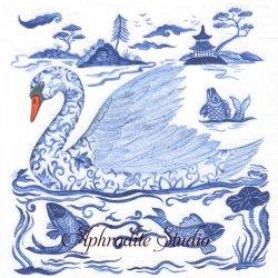Empress' Swan ブルー スワン 鳥 和柄 オリエンタル Ron Tanovitz 1枚 バラ売り 33cm ペーパーナプキン ppd