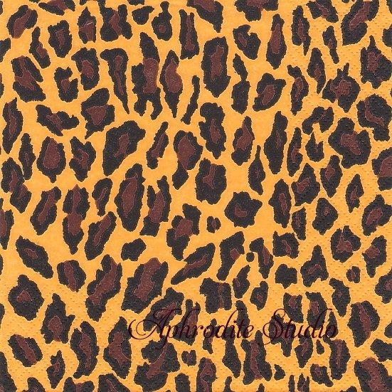 Leopard Pattern saffron オレンジ ヒョウ柄 1枚 バラ売り 33cm ペーパーナプキン デコパージュ ti-flair
