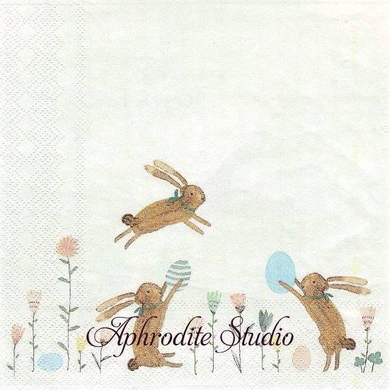 北欧 メイレグ Happy Easter イースターの兎 ラビット うさぎ バニー 1枚 33cm バラ売り ペーパーナプキン Maileg