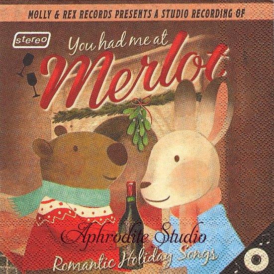 25cm モリー&レックス YOU HAD ME AT MERLOTくまとうさぎのクリスマス 1枚 バラ売り ペーパーナプキン MOLLY & REX