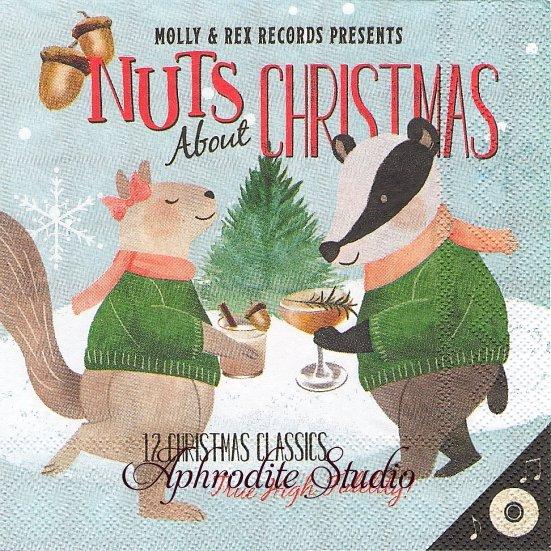 25cm モリー&レックス NUTS ABOUT XMAS スケート クリスマス 1枚 バラ売り ペーパーナプキン MOLLY & REX