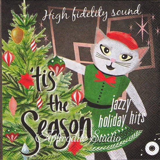 25cm モリー&レックス TIS THE SEASON 猫 クリスマス 1枚 バラ売り ペーパーナプキン MOLLY & REX