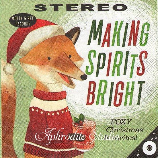25cm モリー&レックス MAKING SPRITS BRIGHT FOX 狐 キツネ クリスマス 1枚 バラ売り ペーパーナプキン MOLLY & REX