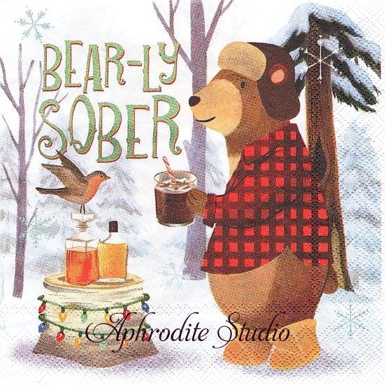25cm モリー&レックス BEAR-LY SOBER 熊 クマ ベア クリスマス 1枚 バラ売り ペーパーナプキン MOLLY & REX