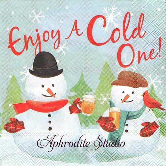 25cm モリー&レックス COLD ONE SNOWMAN スノーマン クリスマス 1枚 バラ売り ペーパーナプキン MOLLY & REX