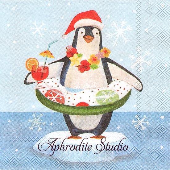 25cm モリー&レックス LUAU PENGUN ペンギン クリスマス 1枚 バラ売り ペーパーナプキン MOLLY & REX