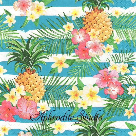 Tropical Flowers and Pineapples on Stripes トロピカルな花とパイナップル 1枚 バラ売り 33cm ペーパーナプキン Daisy