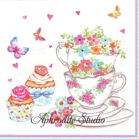 Cups and Cupcakes with Flowers ティーカップとカップケーキ 1枚 バラ売り 33cm ペーパーナプキン Daisy