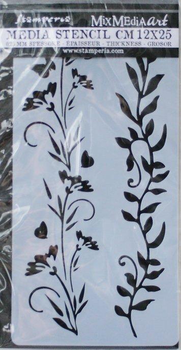 スタンペリア 【Borders flowers and leaves】 厚手 ステンシルシート♪ 12x25cm KSTDL25 テンプレート エンボス Stamperia