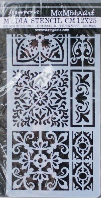 スタンペリア 【Tiles】 厚手 ステンシルシート♪ 12x25cm KSTDL20 テンプレート エンボス Stamperia