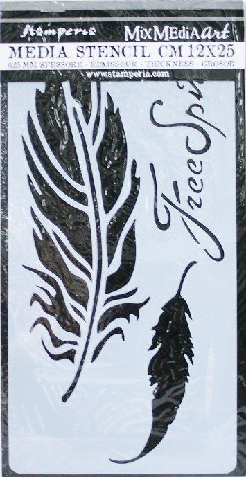 スタンペリア 【Feathers】 厚手 ステンシルシート♪ 12x25cm KSTDL07 テンプレート エンボス Stamperia