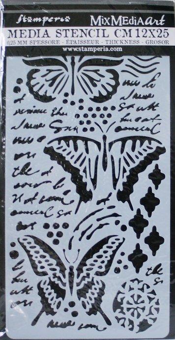 スタンペリア 【Butterflies】 厚手 ステンシルシート♪ 12x25cm KSTDL09 テンプレート エンボス Stamperia